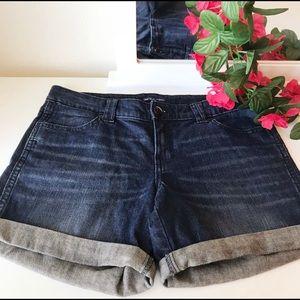 GAP Aubrey Cuffed Dark Wash Jean Shorts